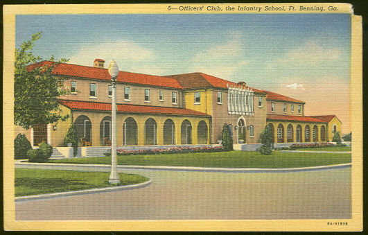Postcard of Officers' Club Fort Benning, Georgia
