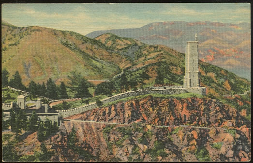 Postcard of Will Rogers Shrine Pikes Peak Colorado