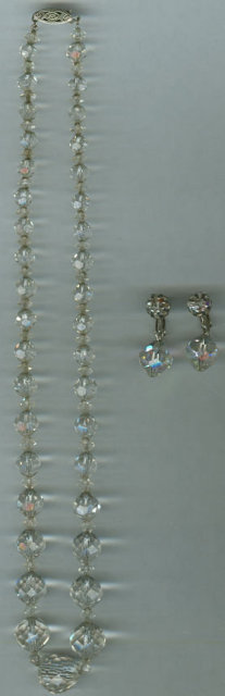 Vintage Crystal Beaded Necklace with Matching Earrings