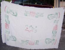 Vintage Hawaiian Islands Aloha Fringed Tablecloth