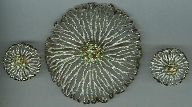 Vintage Rhinestone Floral Brooch and Matching Earrings