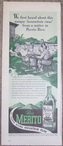 1944 Ron Merito Puerto Rican Rum Magazine Advertisement