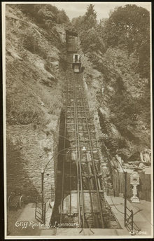 Real Photo Postcard of Cliff Railway, Lynmouth, England