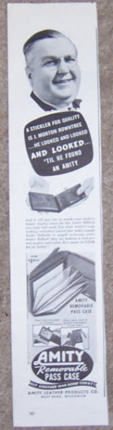 1944 Amity Billfolds Pass Case Magazine Advertisement