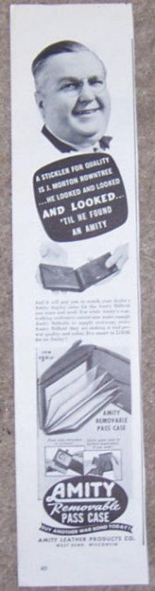 1944 Amity Billfolds Pass Case Magazine Advertisement