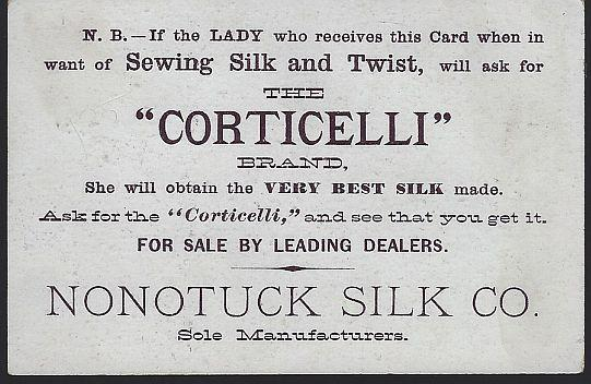 Victorian Trade Card for Corticelli Silk Thread with Oriental Boy and Girl