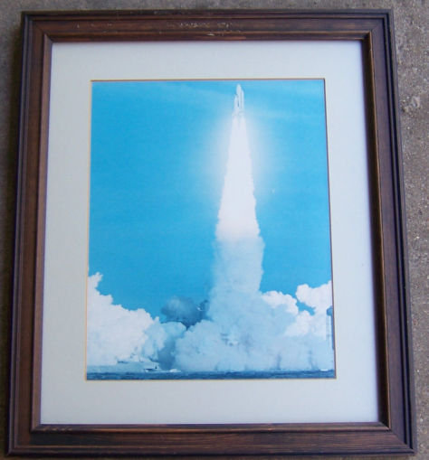 Framed Photograph of Space Shuttle Lift Off