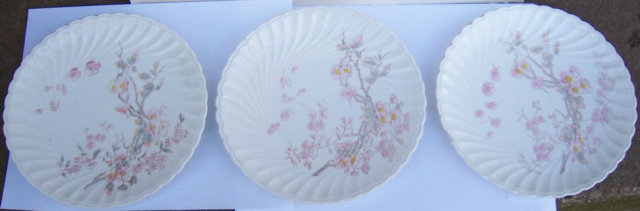 Three Carlsbad Austrian China Plates with Pink Flowers