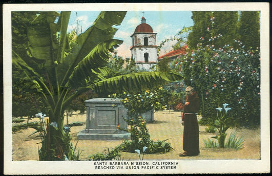 Santa Barbara Mission Reached Union Pacific Postcard
