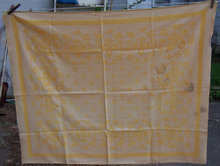 Vintage Yellow Brocade Design Table Cloth