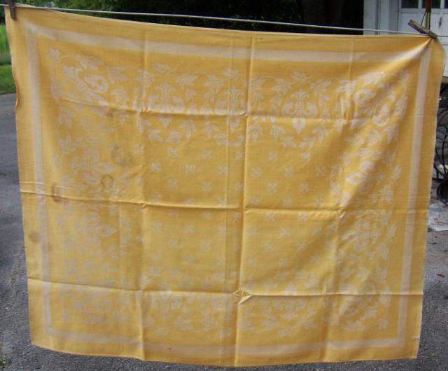Vintage Yellow Brocade Design Table Cloth