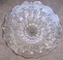 Vintage Glass Cake Plate with Handle in Middle