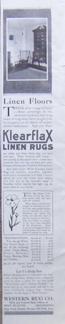 Klearflax Linen Rugs 1917 Magazine Advertisement