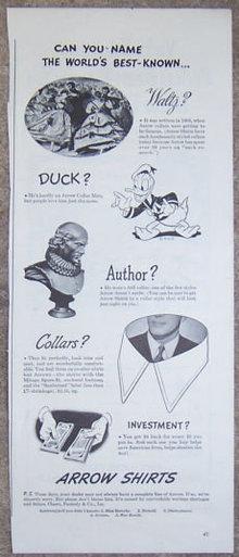 1944 WW II Arrow Shirts Donald Duck Magazine Ad