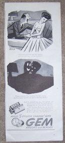 1944 Peter Arno Gem Razors WW II Magazine Advertisement