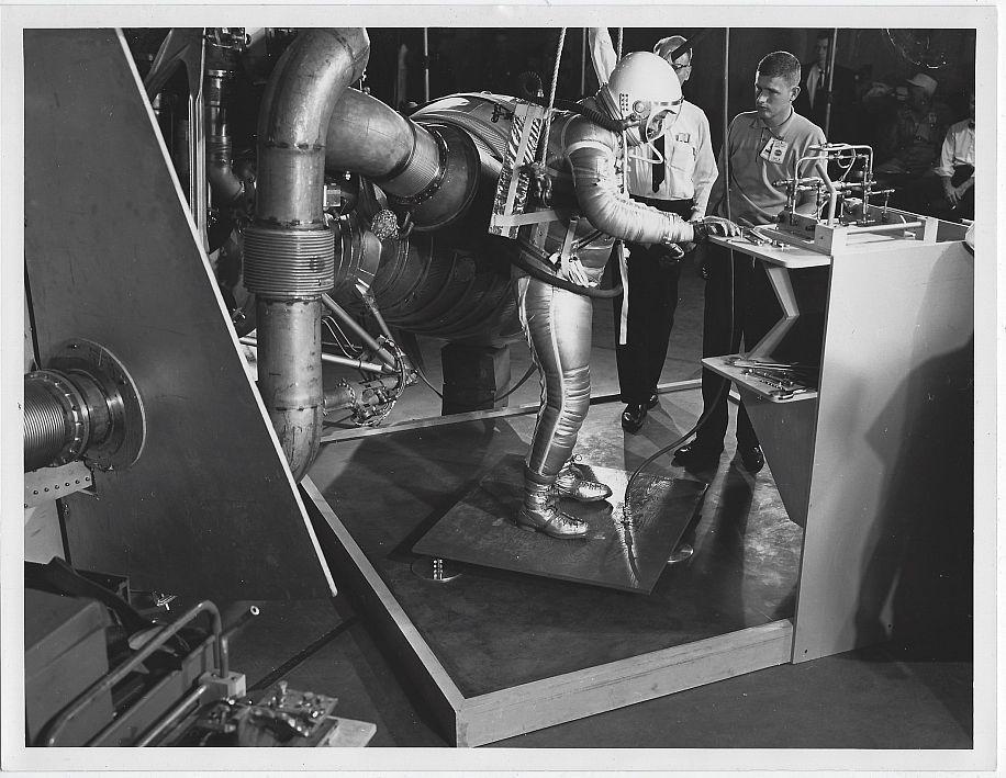 Original Photograph of Men Observing Astronaut, Marshall Space Flight Center AL