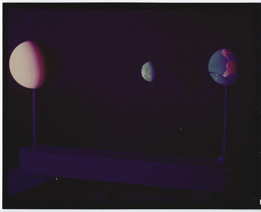 Original Color Photograph of Model of Earth, Moon and Sun, Marshall Space Flight