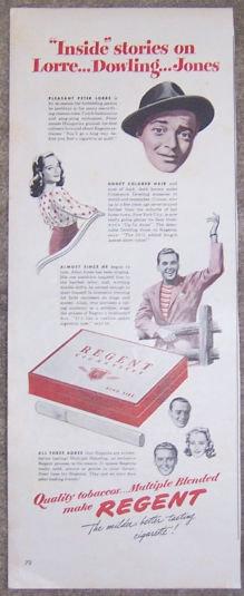 1944 Peter Lorre Smokes Regent Magazine Advertisement