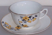 W. S. George China Astor Yellow Poppy Cup and Saucer