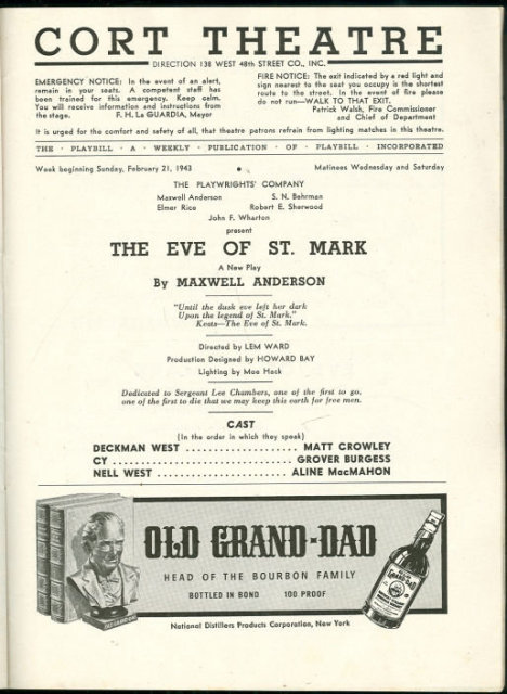 Playbill Eve of St. Mark by Maxwell Anderson 1943