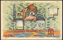 Comic Postcard of Dog Taking Bath Clean Forgot to Write