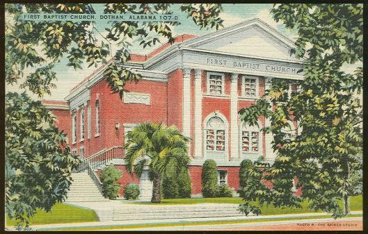 Vintage Unused Postcard of First Baptist Church, Dothan, Alabama