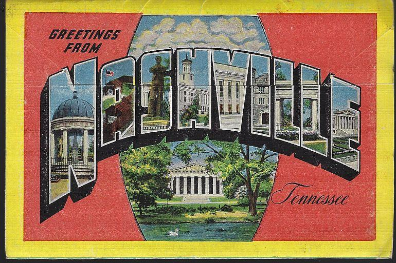 Vintage Souvenir Postcard Folder of Nashville, Tennessee Athens of the South
