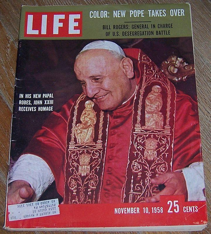 Life Magazine November 10, 1958 New Pope John XXIII Cover/Bill Rogers/Cookbook