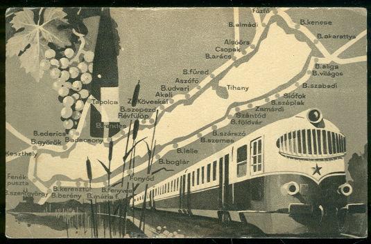 Map Postcard of Train Stops Around Lake Balaton Hungry