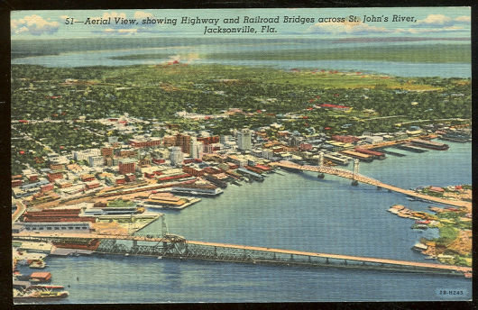 Postcard of Aerial View of Jacksonville, Florida