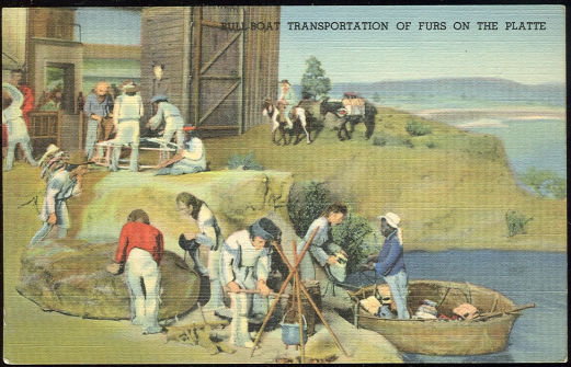 Postcard of Bull Boat Transporation on the Platte