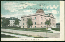 Public Library, Rockford, Illinois 1909 Postcard