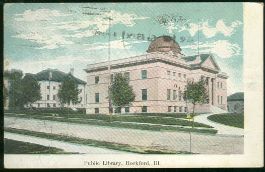 Public Library, Rockford, Illinois 1909 Postcard