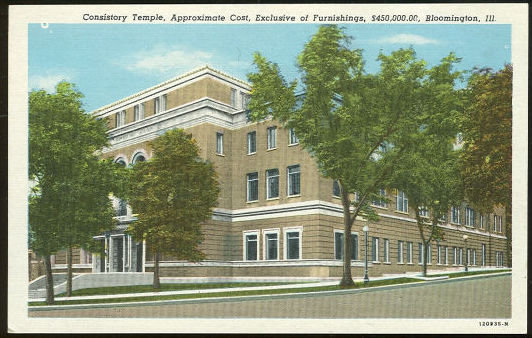 Postcard of Consistory Temple, Bloomington, Illinois