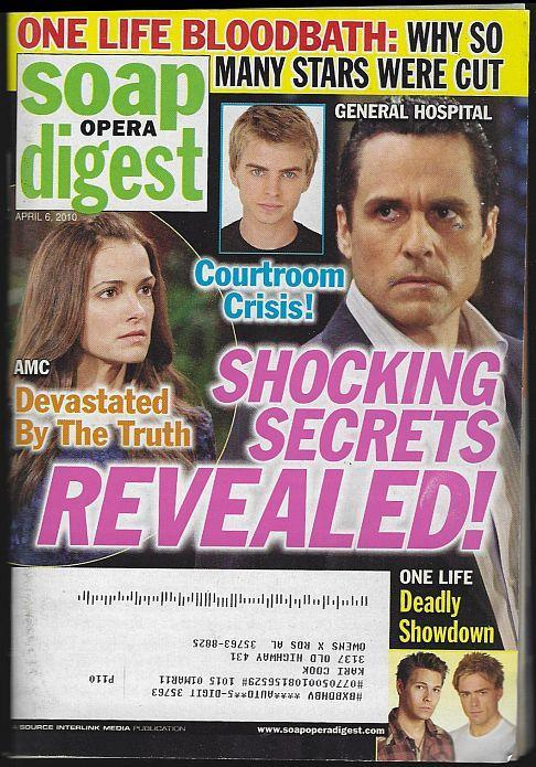 Soap Opera Digest April 6, 2010 Schocking Secrets on Cover/Louise Sorel/AMC/GH