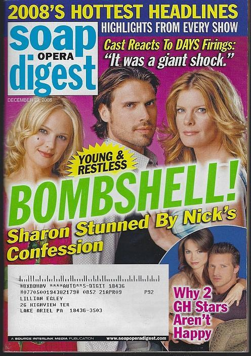 Soap Opera Digest Magazine December 23, 2008 Young and Restless Bombshell Cover