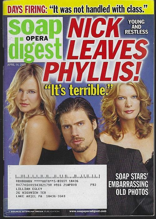Soap Opera Digest Magazine April 14, 2009 Nick Leaves Phyllis on the Cover