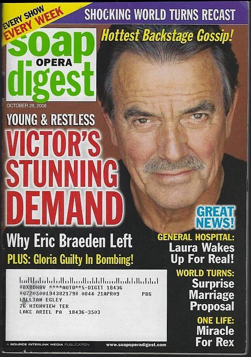 Soap Opera Digest October 28, 2008 Victor's Stunning Demand on the Cover