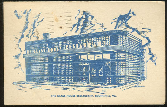 Postcard of Glass House Restaurant South Hill, Virginia