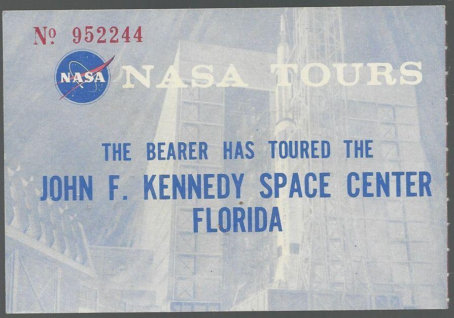 Vintage Ticket for NASA Tours, John F. Kennedy Space Center, Florida
