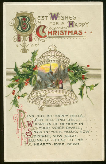Best Wishes For a Happy Christmas Postcard with Bell