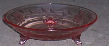 Vintage Floral Etched Pink Three Footed Candy Bowl