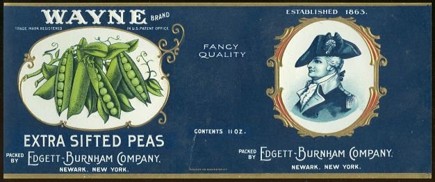 Vintage Wayne Brand Extra Sifted Peas Can Label