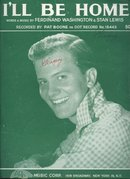 I'll Be Home Sung by Pat Boone 1956 Sheet Music