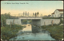 Postcard of N. Madison Street Bridge, Evansville, Wisconsin