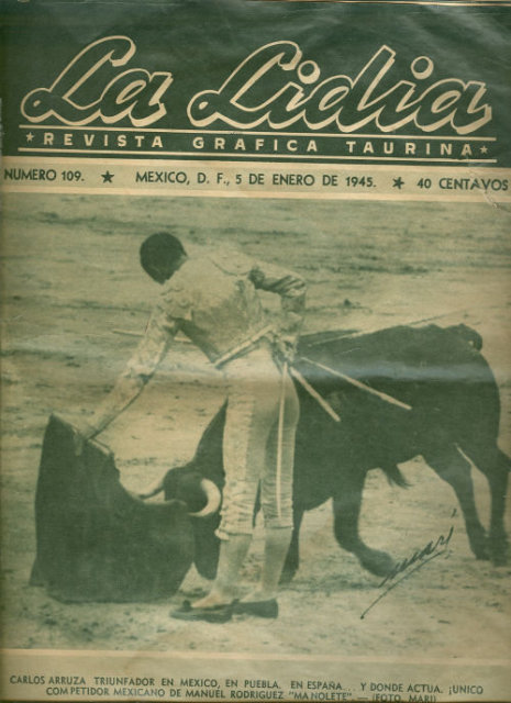 La Lidia January 1945 Mexican Bullfighting Magazine