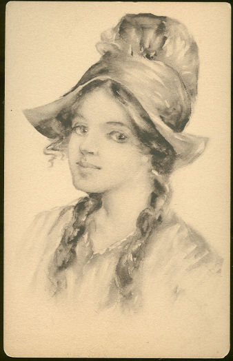 Postcard of Lovely Lady With Hat and Braids