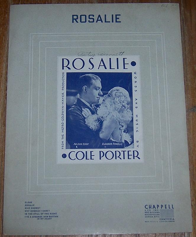 Rosalie starring Nelson Eddy and Eleanor Powell 1937 Sheet Music