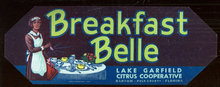 Breakfast Belle, Lake Garfield Citrus Coop Can Label
