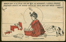 Comic Postcard of Wash Day For Fido's Pants 1917